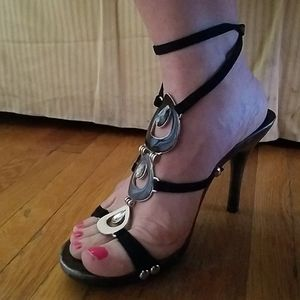 Strappy Faux Micro Suede Enamel Ankle Strap Heel 8